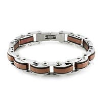 Tri-Tone Stainless Steel Link Bracelet - 8 inches