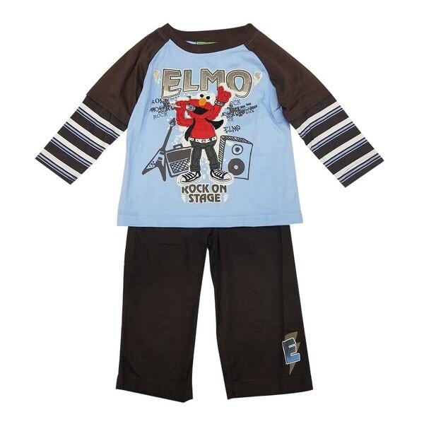 "Disney Baby Boys Black Blue Elmo ""Rock On Stage"" Print 2 Pc Pant Set"