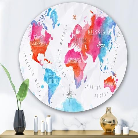 Designart 'World Map In Pink and Blue' Modern Metal Circle Wall Art