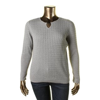Karen Scott Womens Plus Cable Knit Heathered Pullover Sweater