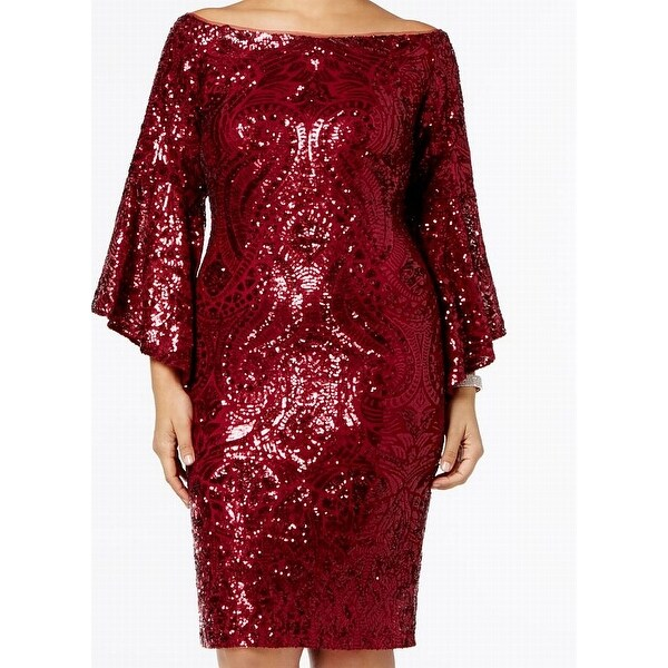 Betsy Adam Red Womens 22W Plus Sequined Off Shoulder Sheath Dress