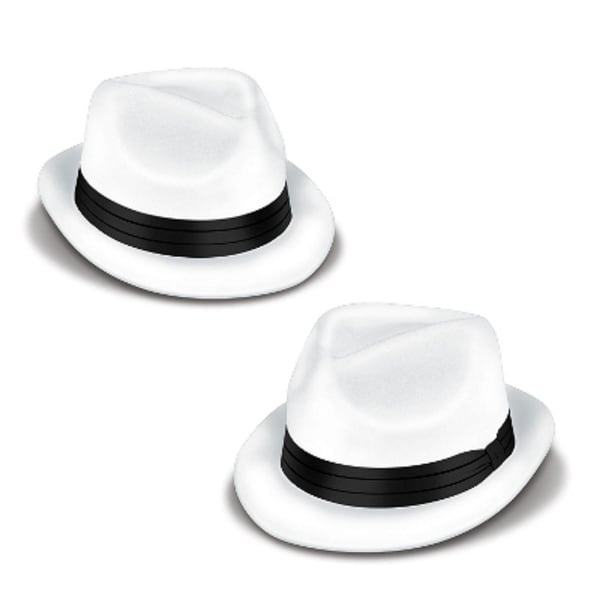 Club Pack of 25 White and Black Velour Chairman Hat Costume Accessories