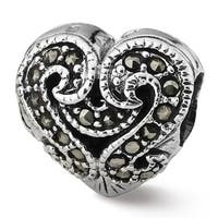 Sterling Silver Reflections Marcasite Heart Bead (4mm Diameter Hole)