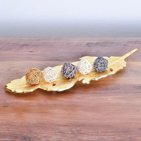 Cheer Collection Gold Plated Feather Leaf Shape Platter