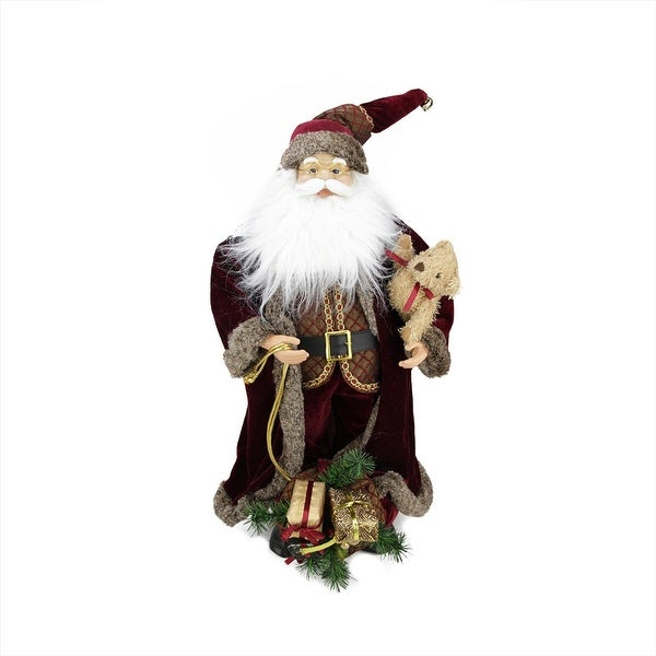 "24"" Noble Standing Santa Claus in Burgundy Robe Christmas Figure with Teddy Bear and Gift Bag - RED"
