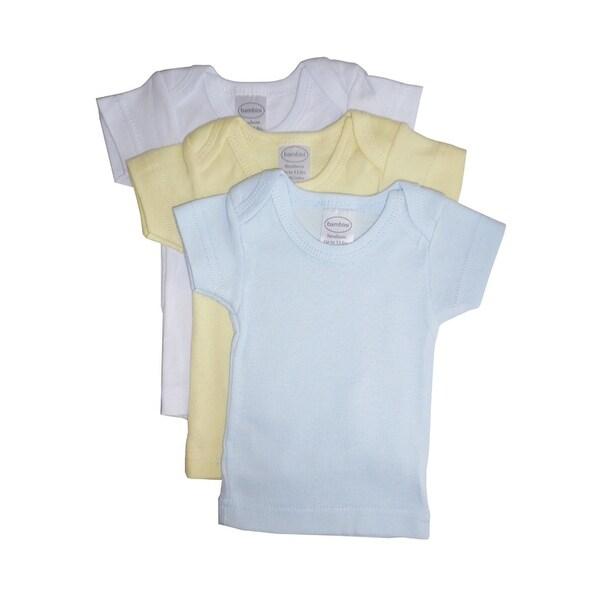 Bambini Baby Boy's White, Yellow, Blue Rib Knit Short Sleeve T-Shirt 3 - Pack