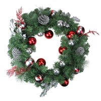 Red and Silver Ornaments and Pine Cone Artificial Christmas Wreath - 24-Inch, Unlit