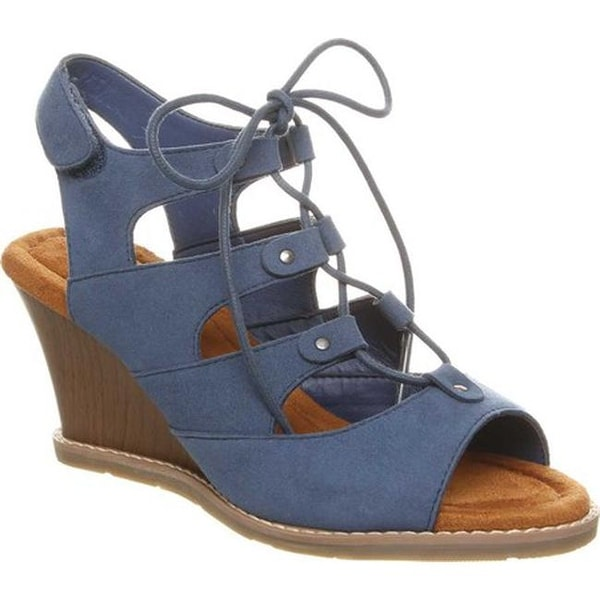 Shop Bearpaw Women s Rhonda Wedge Sandal Slate Blue Microsuede ... 8da70fb182ed
