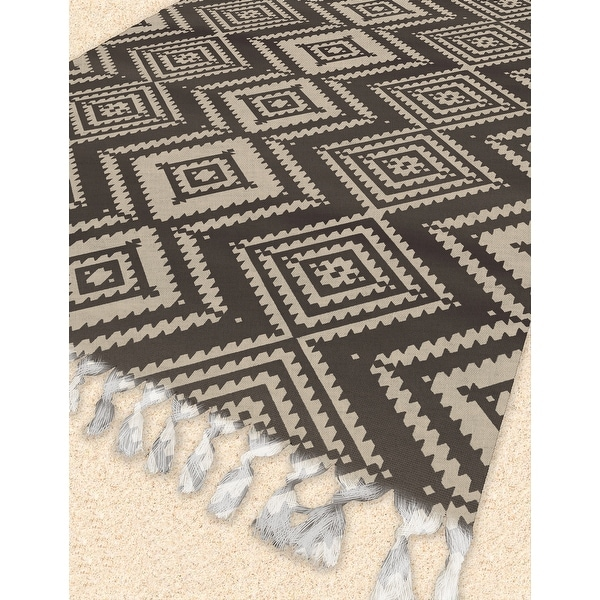 MAYA BROWN Beach Blanket with Tassels By Kavka Designs - 38 x 80. Opens flyout.