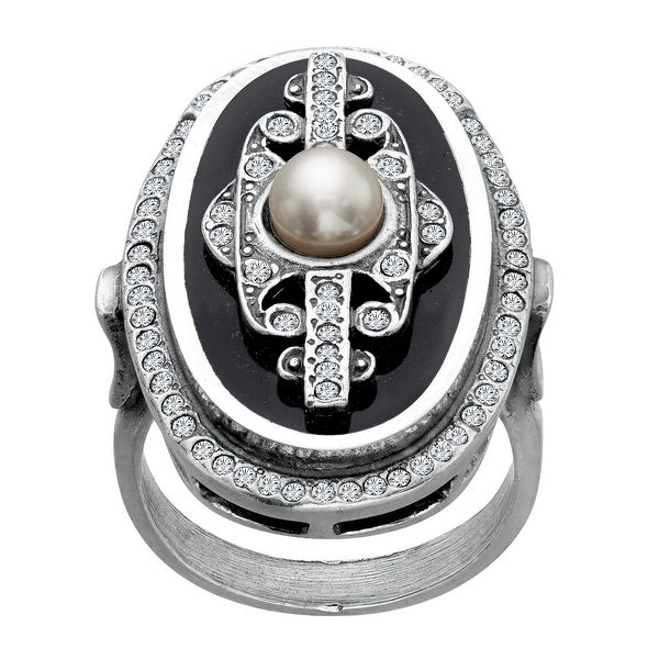 Van Kempen Pearl Art Deco Medallion Ring with Swarovski Elements Crystals in Sterling Silver