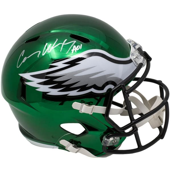 0e13c8cf5c3 Carson Wentz Signed Eagles Full Size Speed CHROME Replica Helmet Fanatics