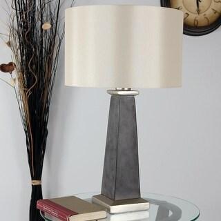 Sunnydaze Indoor Outdoor Modern Concrete Pillar Table Lamp 27 Inch Tall