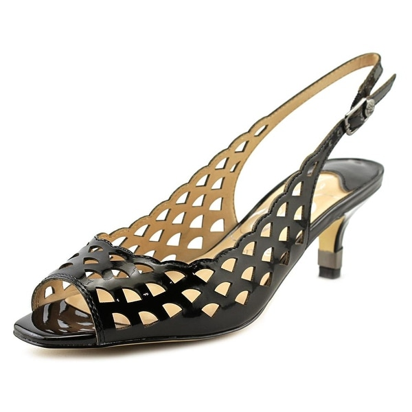 J. Renee Peppi Women Open-Toe Synthetic Black Slingback Heel
