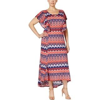NY Collection Womens Plus Maxi Dress Matte Jersey Chevron