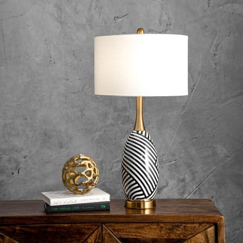 """nuLOOM Ortley 24"""" Contemporary Ivory, Black, & Gold Table Lamp"""