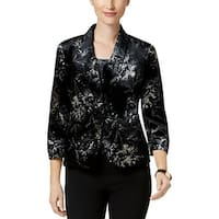 Kasper Womens One-Button Blazer Floral Print Velvet