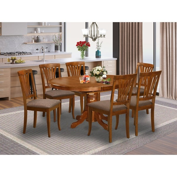7-piece Dining Set - Oval Table with Leaf and 6 Dining Chairs - Saddle Brown Finish (Pieces Option). Opens flyout.