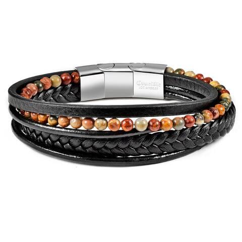 """Natural Stone Beaded Black Leather Bracelet - 8.25"""" + 0.5"""" Extender"""