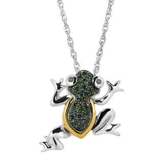 1/10 ct Green & Black Diamond Frog Pendant in Sterling Silver & 14K Gold