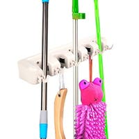 Costway Mop Holder Hanger 5 Position Home Kitchen Storage Broom Organizer Wall Mounted