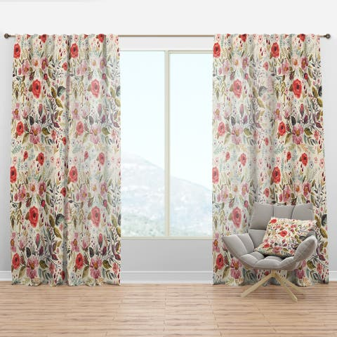Designart 'Vintage Red Pink Flower and Leaves' Rustic Curtain Panel