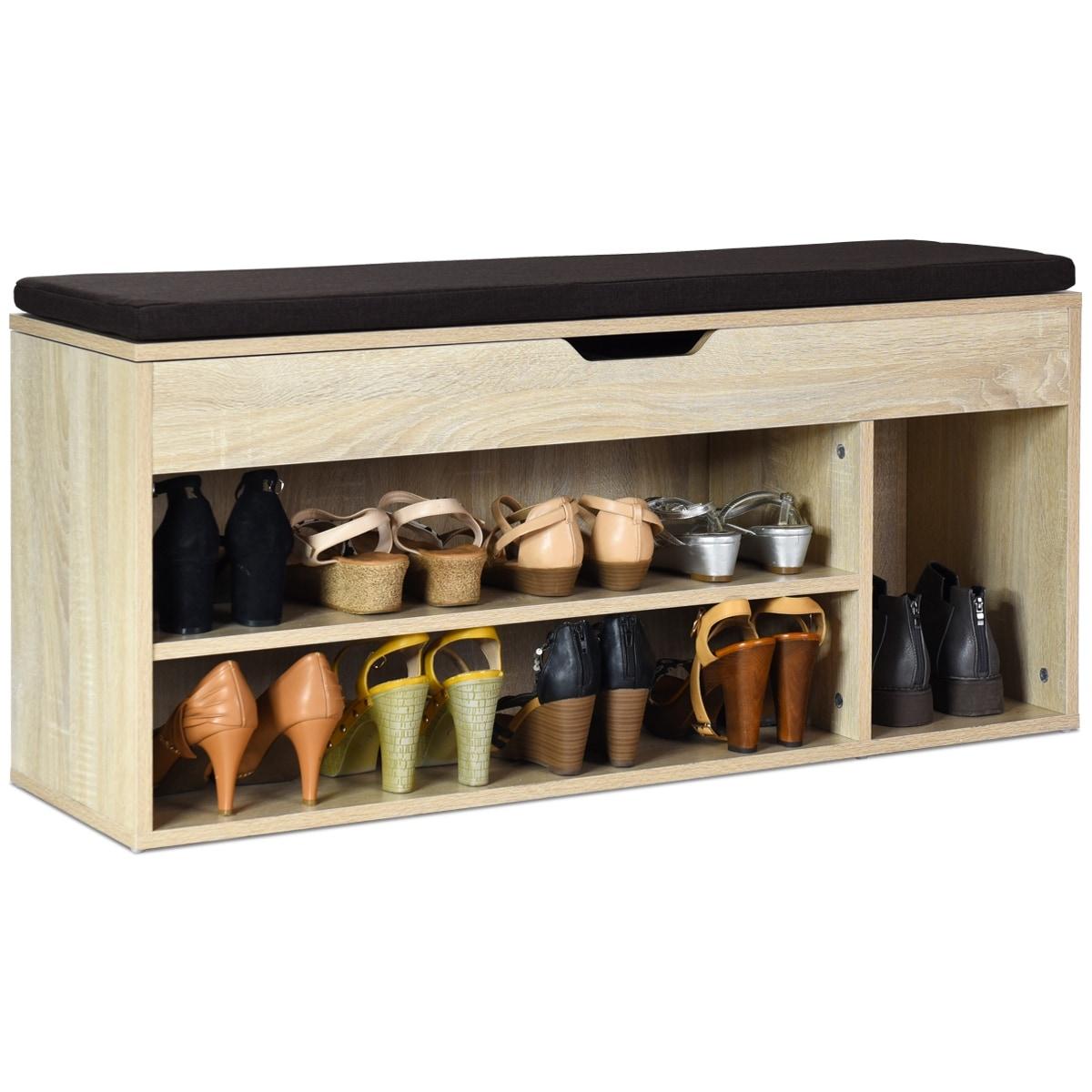 Picture of: Costway Wooden Rack Shoes Bench W Storage Shelf Upholstered Shoe Rack Entryway Hallway Wooden Color Overstock 28634498