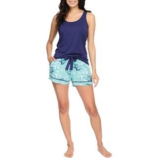 Link to Munki Munki Women's Bird Print Tank Top & Shorts Pajama Sleepwear Lounge Set - Navy/Teal Similar Items in Intimates