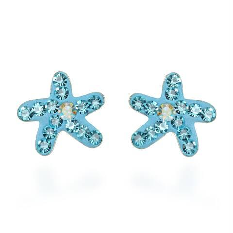 handmade Cute Crystal Starfish Sterling Silver Stud Earrings (Thailand)