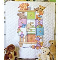 "Baby Hugs Baby Drawers Quilt Stamped Cross Stitch Kit-34""X43"""