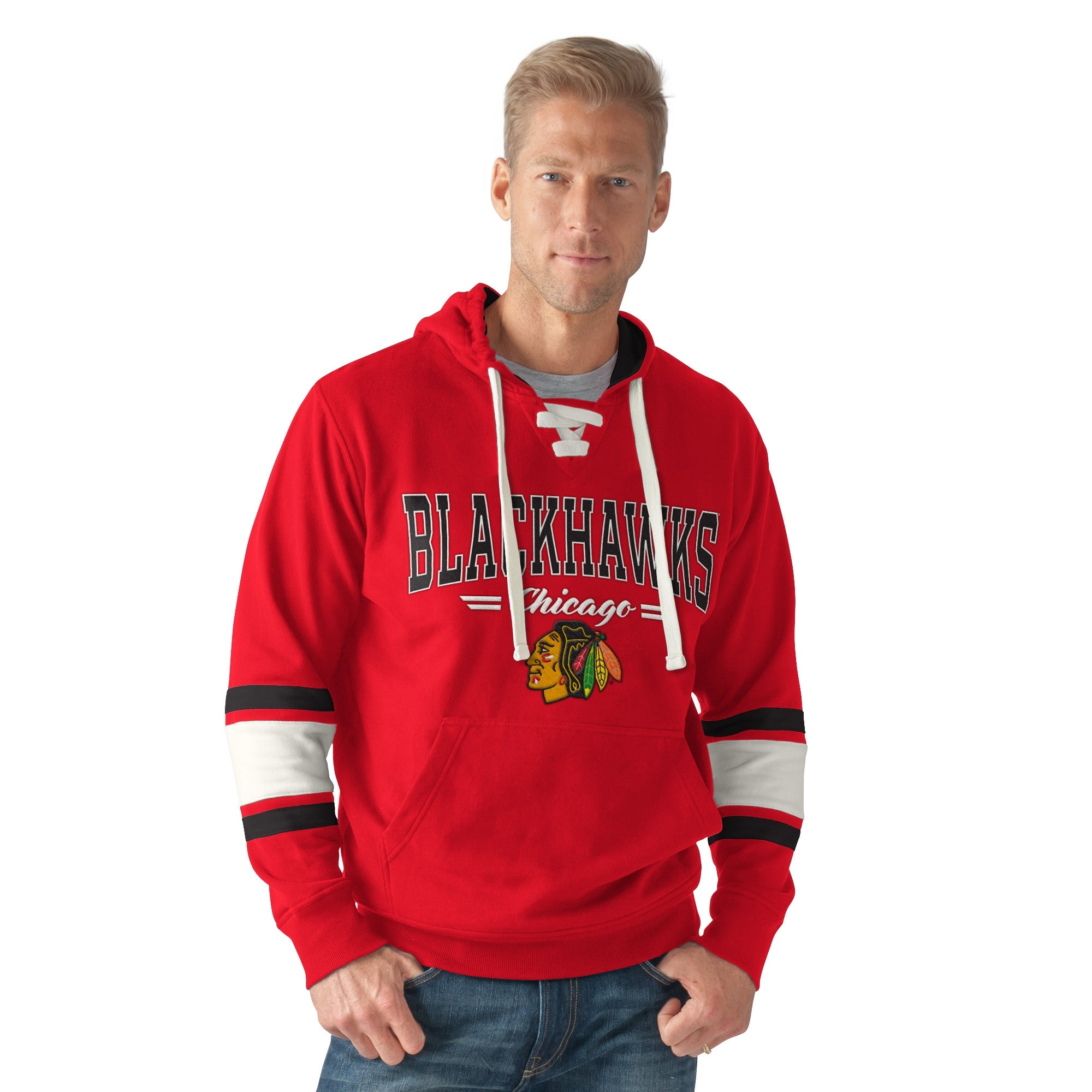 finest selection ef80b 9b2a3 Chicago Blackhawks Icing Men's Lace Up Fleece Pullover Hoodie