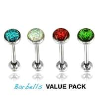 4 Pcs Pack of Assorted Color Surgical Steel Barbell with Epoxy Glitter Ball - 14 GA