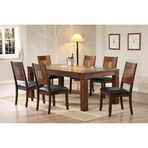 Two Tone Walnut - Ash Solid Dining Set 7 Piece