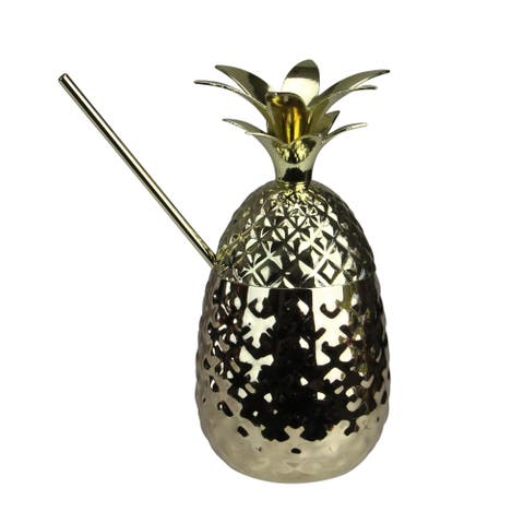 "7"" Metallic Gold Pineapple Tumbler with Straw - N/A"