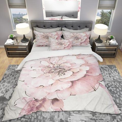 Designart 'Indigold Shabby Peonies Pink' Shabby Bedding Set - Duvet Cover & Shams