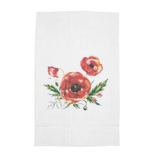 Watercolor Poppy Printed Linen Tea Towel