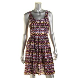 Aqua Womens Juniors Tribal Print Cutout Sundress - S