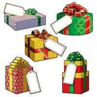 "Club Pack of 240 Festive Multicolor Mini Christmas Gift Cutout Decorations 4-5"" - Multi"