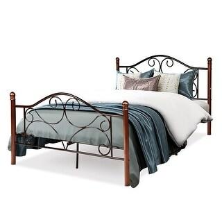 Costway Full Size Steel Bed Frame Platform Stable Metal Slats Headboard Footboard New - Chocolate