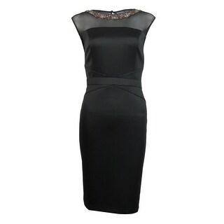 Ellen Tracy Women's Beaded Mesh Sheath Dress - 10