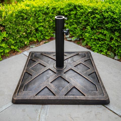 Outdoor Patio Antique Bronze Square Block Umbrella Base