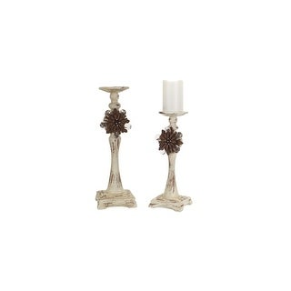 "13.5"" - 16.5"" Antique White Pillar Candle Holders with Floral Accent"
