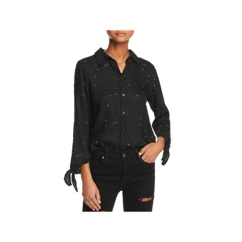 Rails Womens Robyn Button-Down Top Linen Blend Printed - Black With Stars - XS