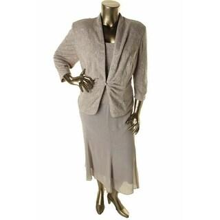 Alex Evenings Womens Plus Glitter 2PC Dress With Jacket - 14W