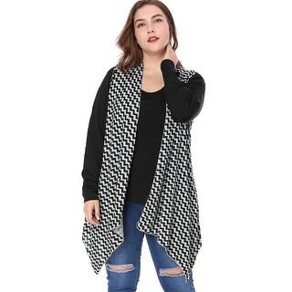 Allegra K Women Plus Size Zig-zag Pattern Irregular Hem Knit Cardigan - gray
