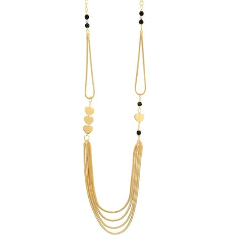 """Bronzoro 18 k Gold Overlay 40"""" Wheat Chain & Rolo Long Necklace"""