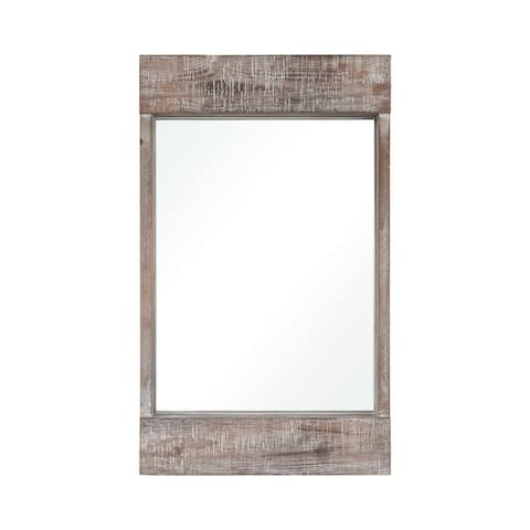 Rustic Rectangular Wall Mirror With White Washed Wood Frame Made Of Fir Wood In Natural Fir Wood