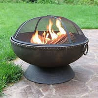Sunnydaze 30 Inch Firebowl Fire Pit with Handles & Spark Screen