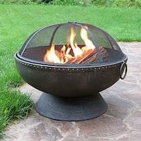 Sunnydaze 30 Inch Firebowl Fire Pit with Handles & Spark Screen