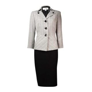 Le Suit Women's English Garden Button Skirt Suit