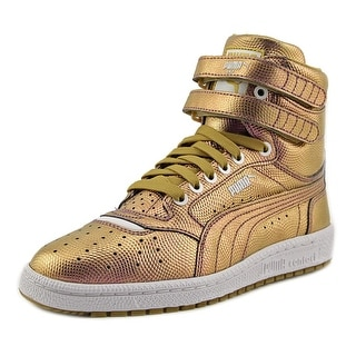 Puma Sky II Hi Holo Jr Youth Round Toe Leather Gold Sneakers